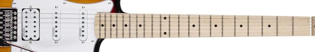 La longueur d'échelle d'une guitare électrique fait référence à la longueur de la corde qui vibre et se mesure depuis le sillet jusqu'au chevalet